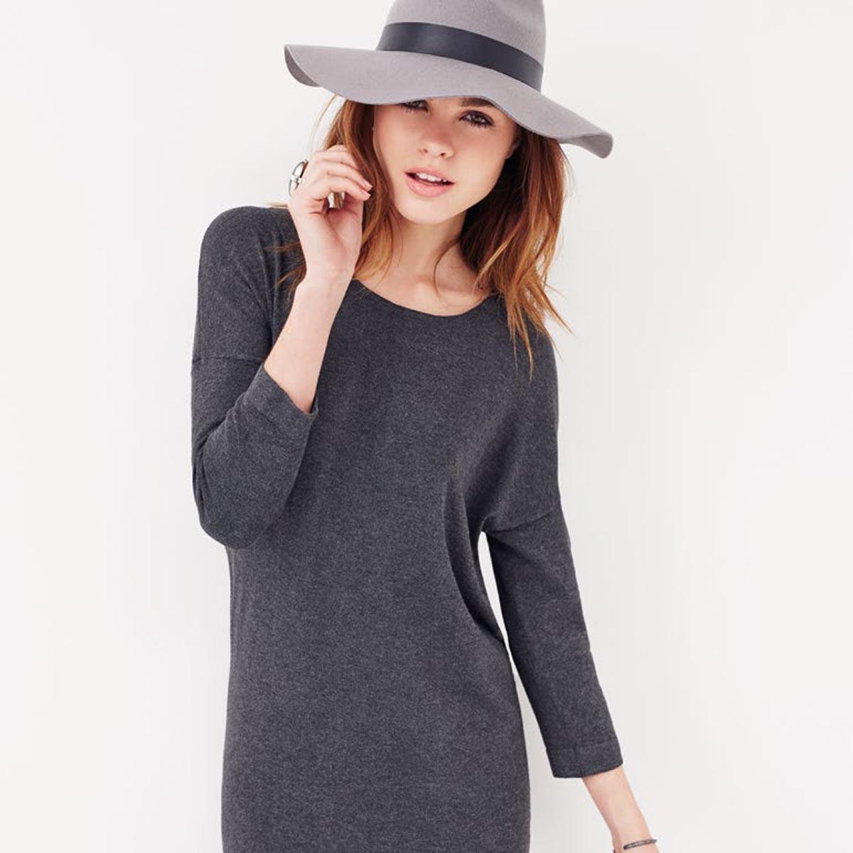 Grautrend Jerseykleid Hut