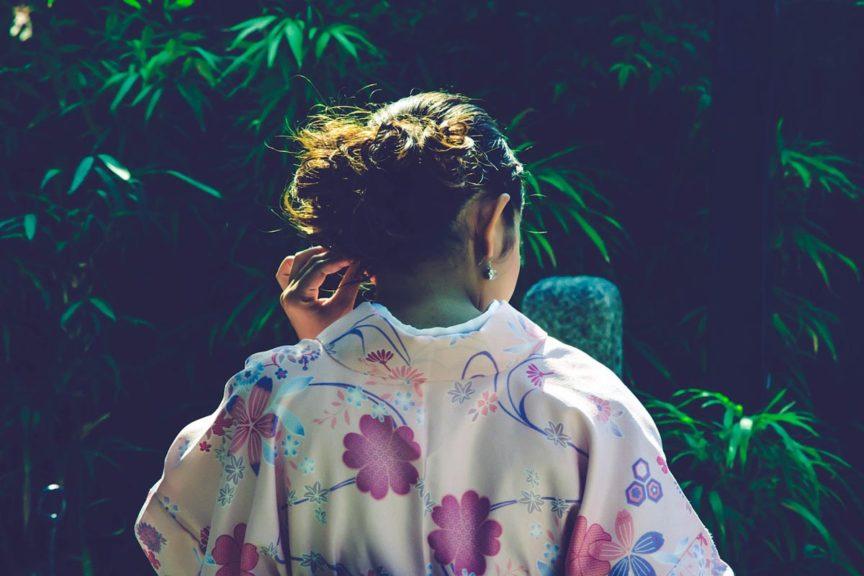 Blumenmuster Oberteil Kimono