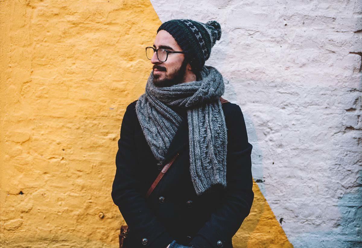 Männerjacke Schal Mütze