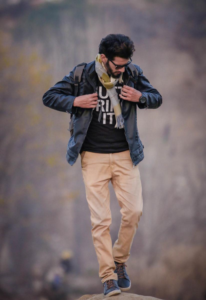Lederjacke Jeanshose Männermode