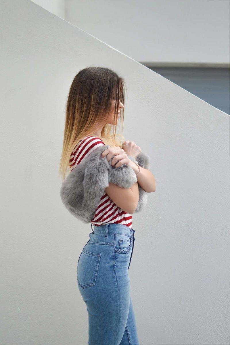 Pelz Shirt Jeanshose