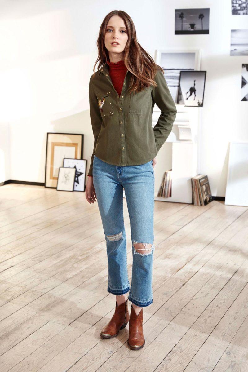 cropped jeanshose bluse frau