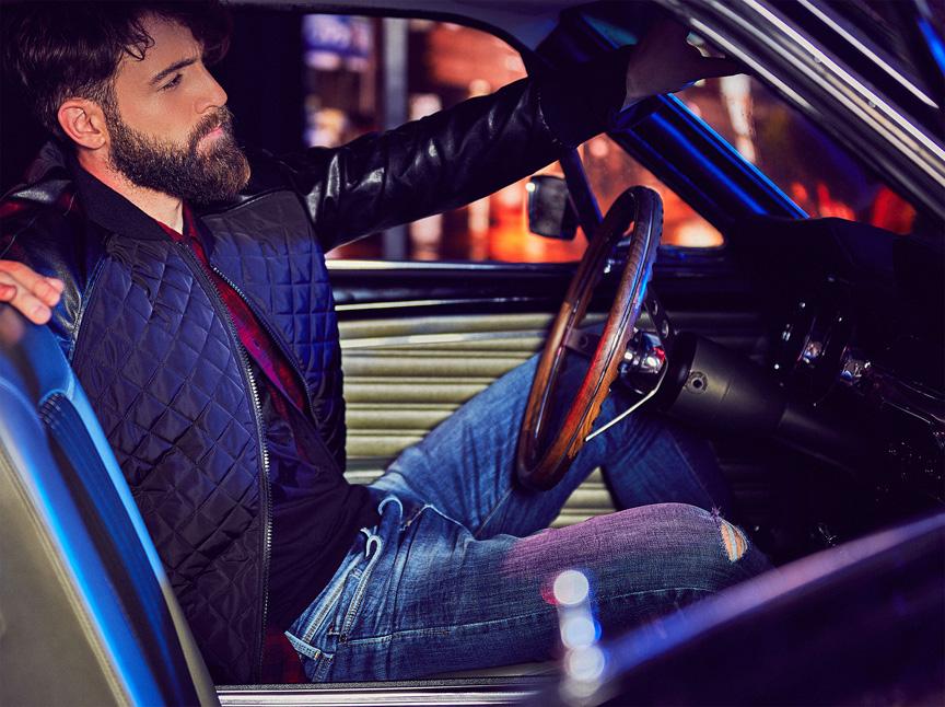herrenjeans jacke shirt auto